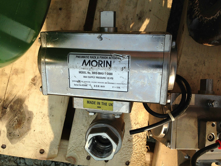 1 INCH BALL VALVE WITH MORIN MRS-004U-T-D000 STAINLESS STEEL 120 PSI ACTUATOR
