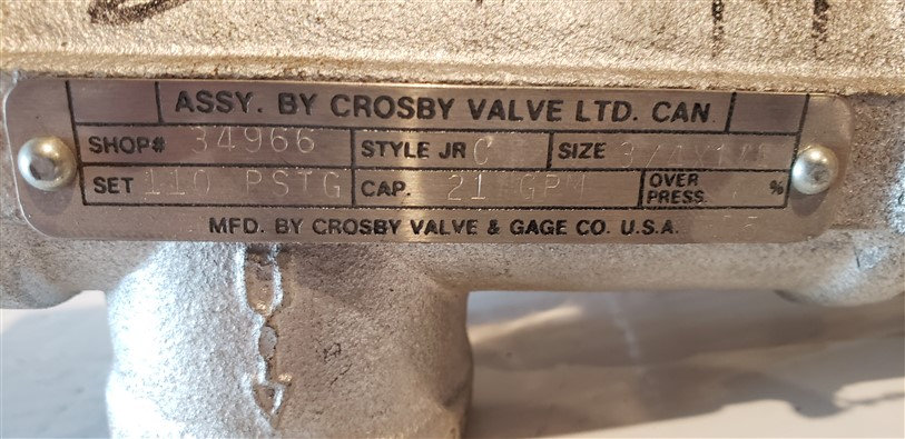 "Crosby Safety Relief Valve Style JR C 3/4"" x 1/4"""