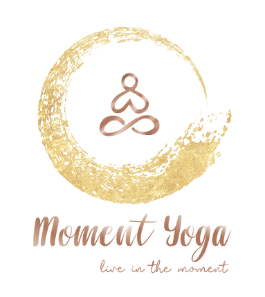 Moment Yoga Studio Hong Kong logo. It is a simple graphic showing a man sitting with palms together and is surrounded by a golden reiki circle. Live in the moment is the main thought from Moment Yoga