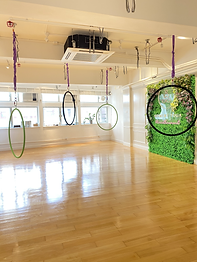 This picture is showing the interior design of Moment Yoga studio in Central, Hong Kong. The floor is wooden floor. There is a greenery wall having a LED Moment Yoga's logo signboard on it. Nice and neat place and 4 aerial hoops or lyras are found. Windows are large and the room is bright with adequate sunlight.