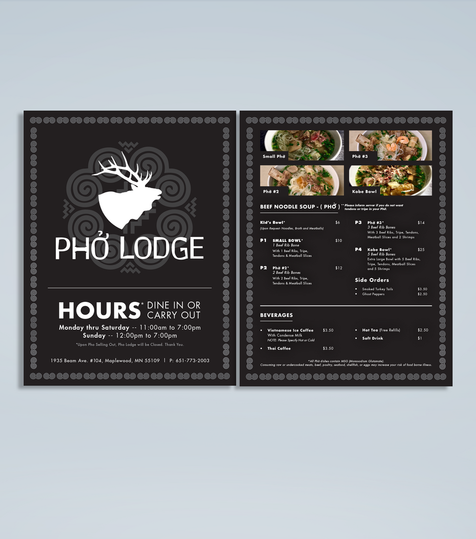 Pho Lodge Menu