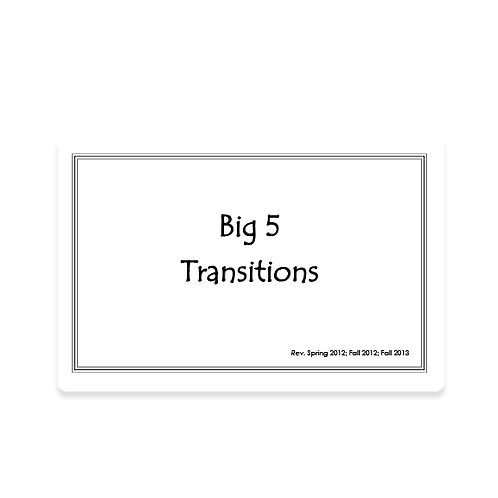 Big Five Transition Song Cards