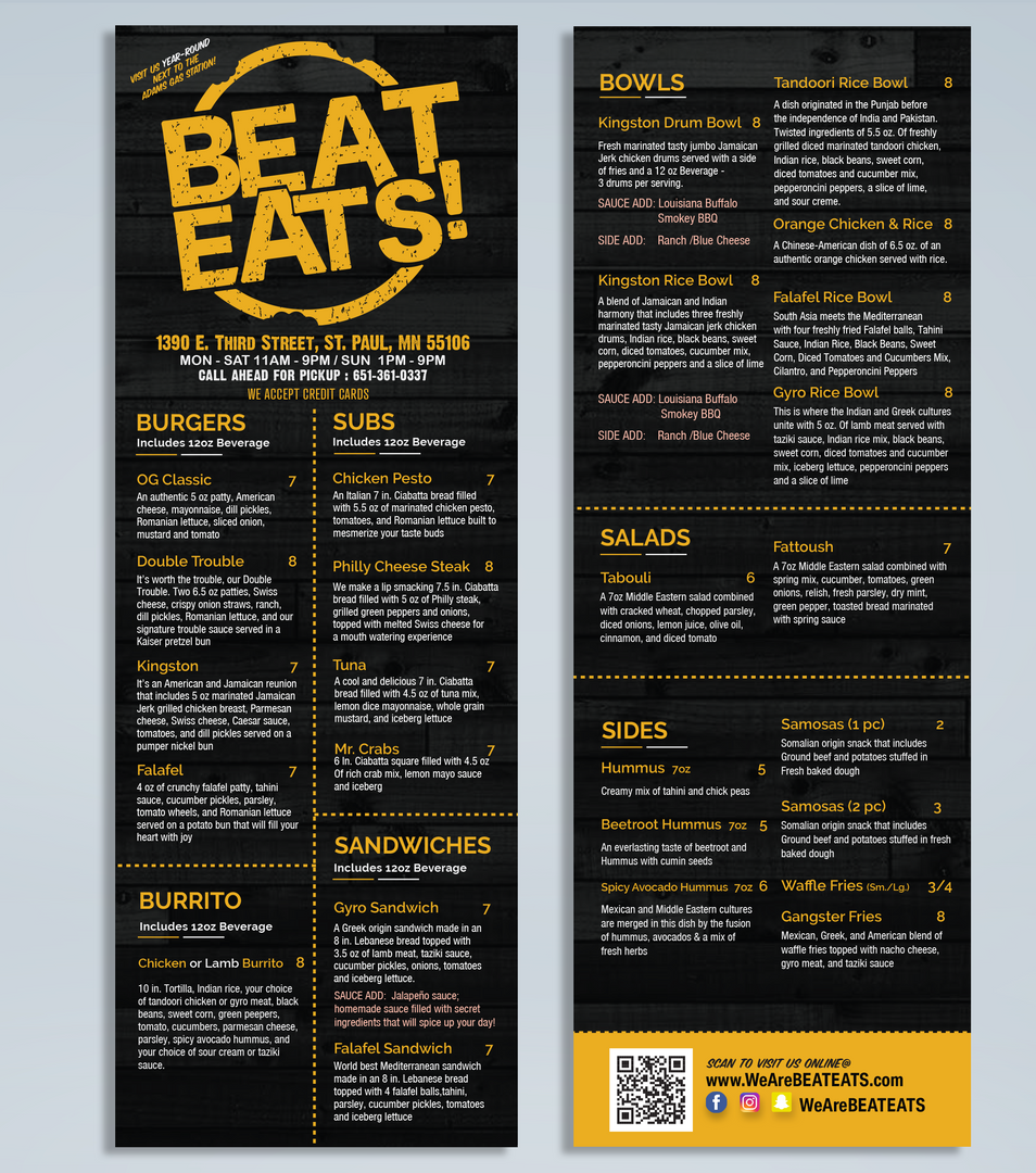 Beat Eats Menu