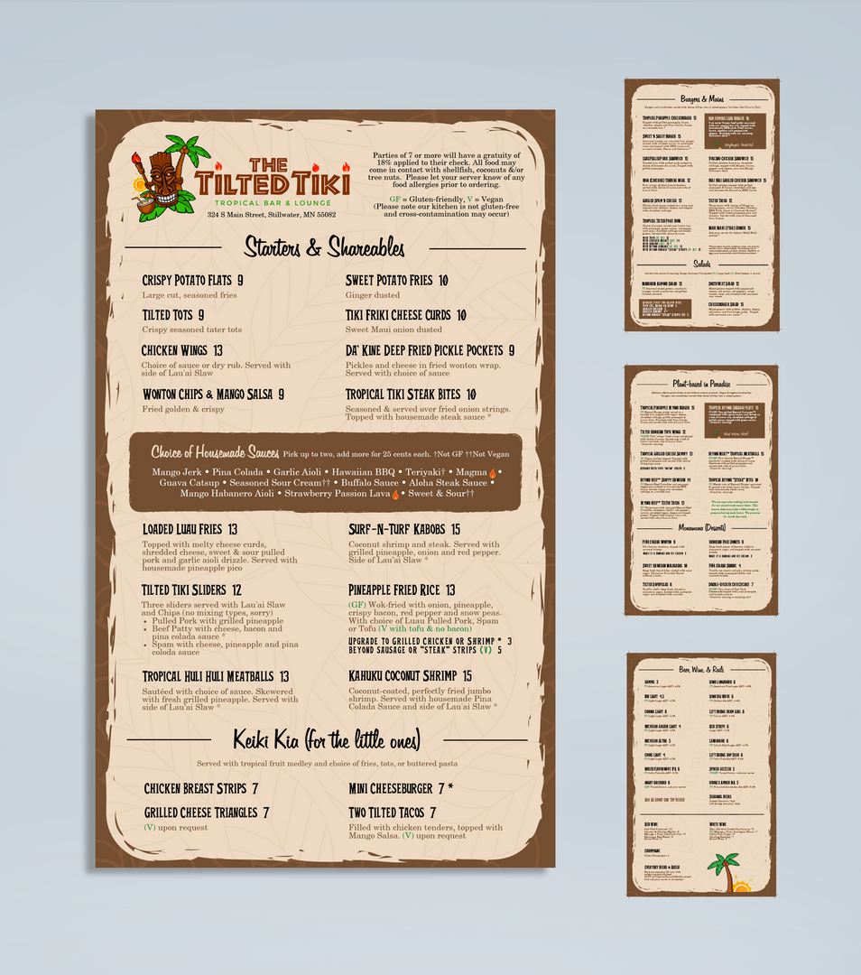 Tilted Tiki Menu