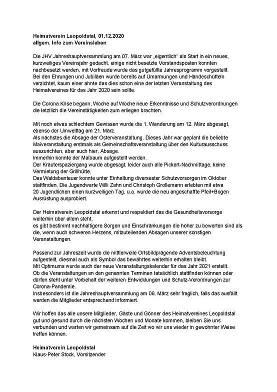 Heimatverein Leopoldstal, 01.12.2020 all