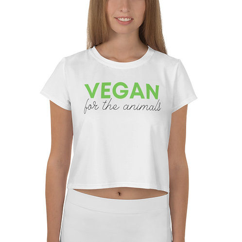 VEGAN FOR THE ANIMALS Print Crop Tee
