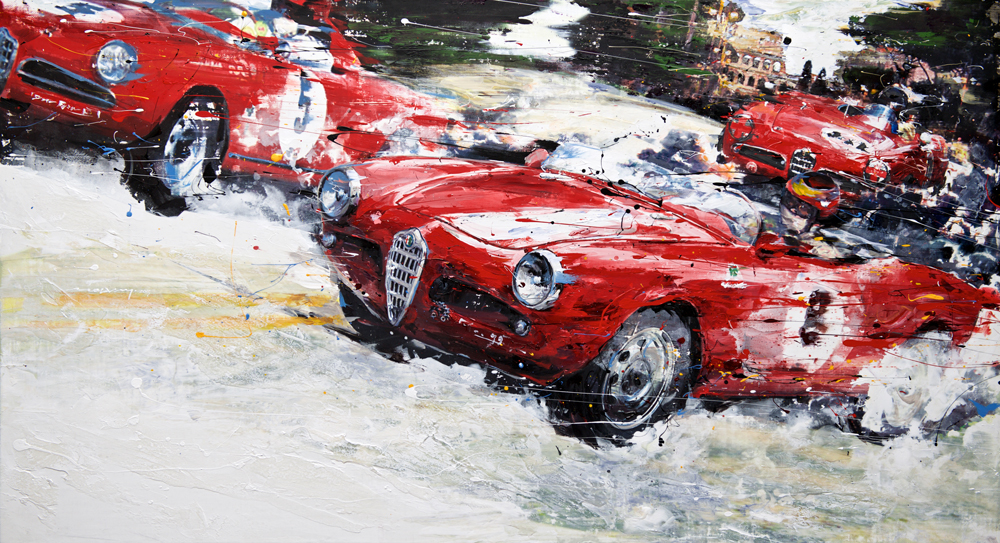 Alfa Romeo Giulietta 1956 53x100cm mixed media 2015