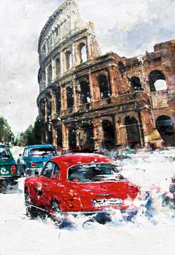 Alfa Romeo Giulietta Sprint 1956 72.7x50cm mixed media 2014