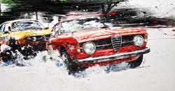 Alfa Romeo Giulia Sprint GT 1300 Junior 1966 53.3x100.2cm mixed media 2014