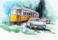 Watercolor painting Race in the city.jpg