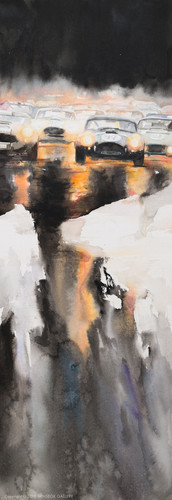 Watercolor painting Light in the darknes