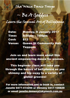 Beginner Bellydance Class - starting in the new year, Monday nights at the Hall