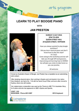 Boogie-Woogie Piano Workshop with Jan Preston, July 3rd 2PM