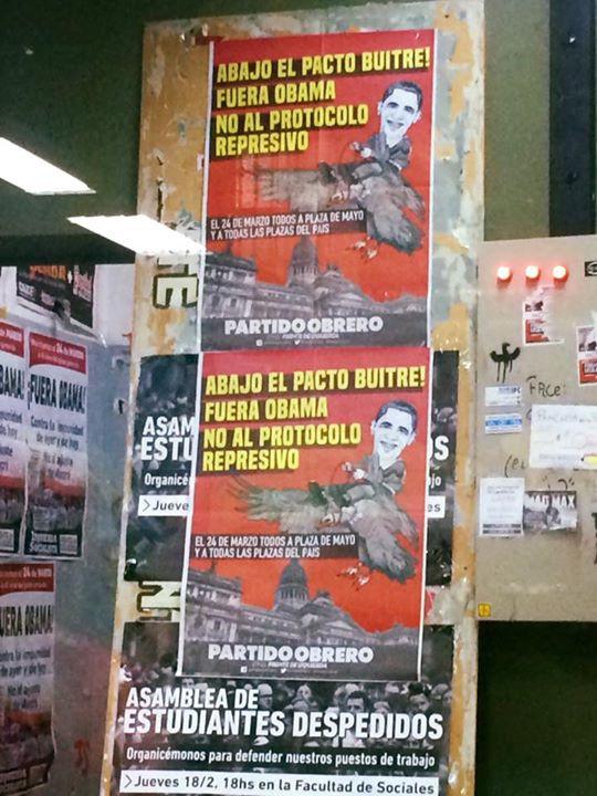 Anti-Obama posters inside a university classroom