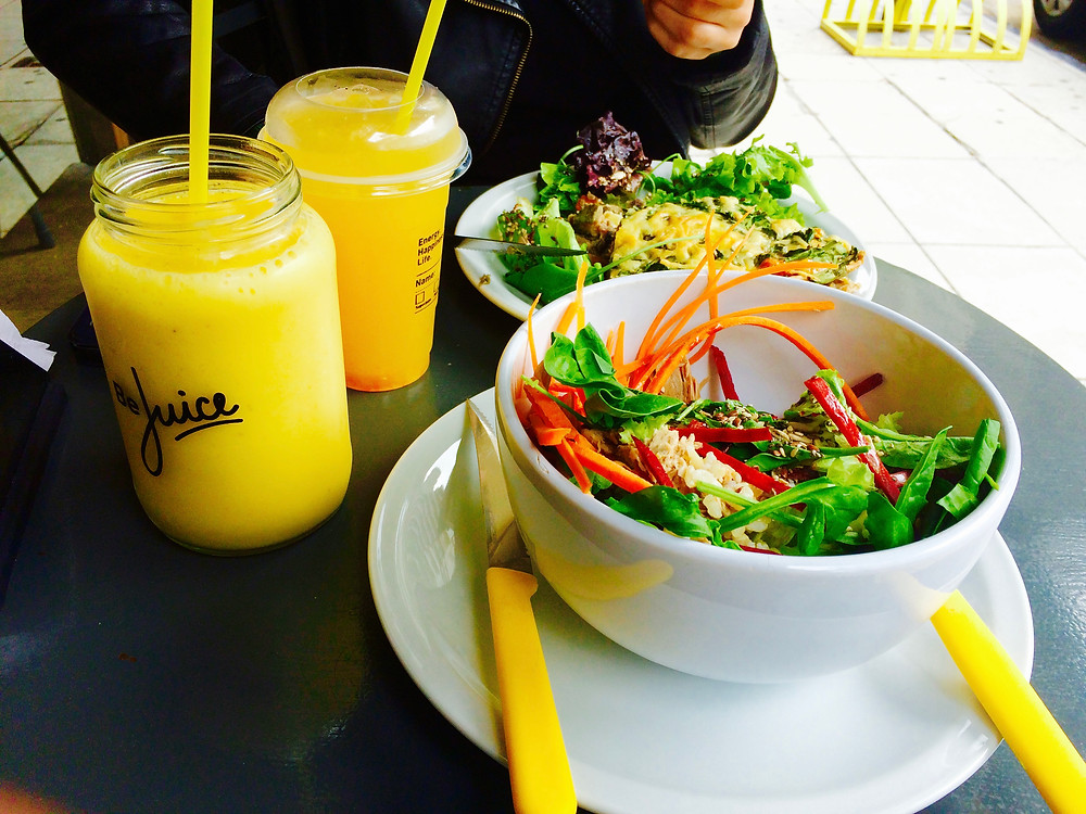 Salad and smoothie from Be Juice, Recoleta