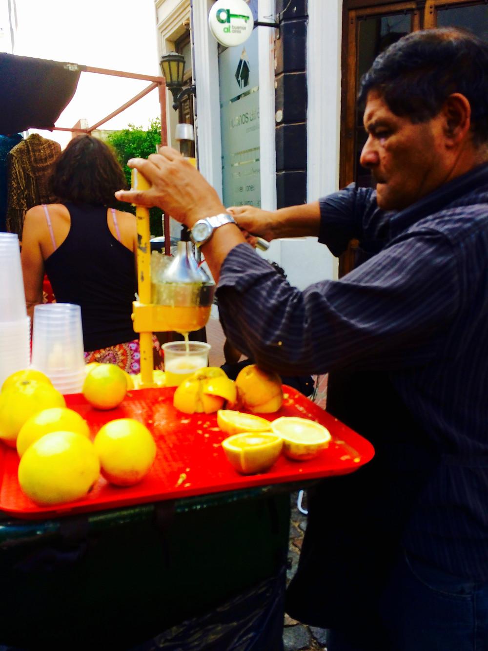 Fresh squeezed orange juice in San Telmo