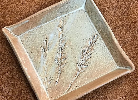 Square small tray with wheat motive- Petit plateau carré