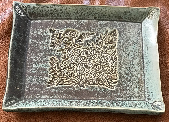 Square green tray with print