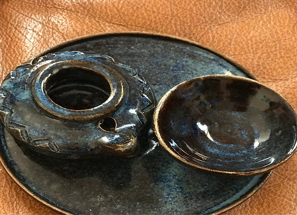 Dark blue Oil lamp set- Set lampe à huile bleu