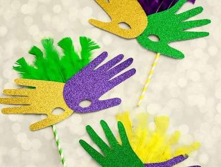 Mardi Gras Handprint Masks!