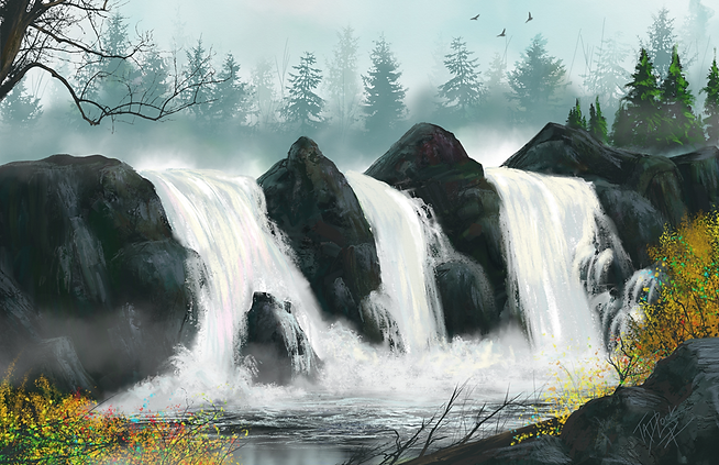 Forest-Waterfall-Foggy-Morning-TNArtist-