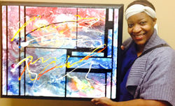 Frequency of Creation Acrylic Abstract Painting with new owner Ms. Julia