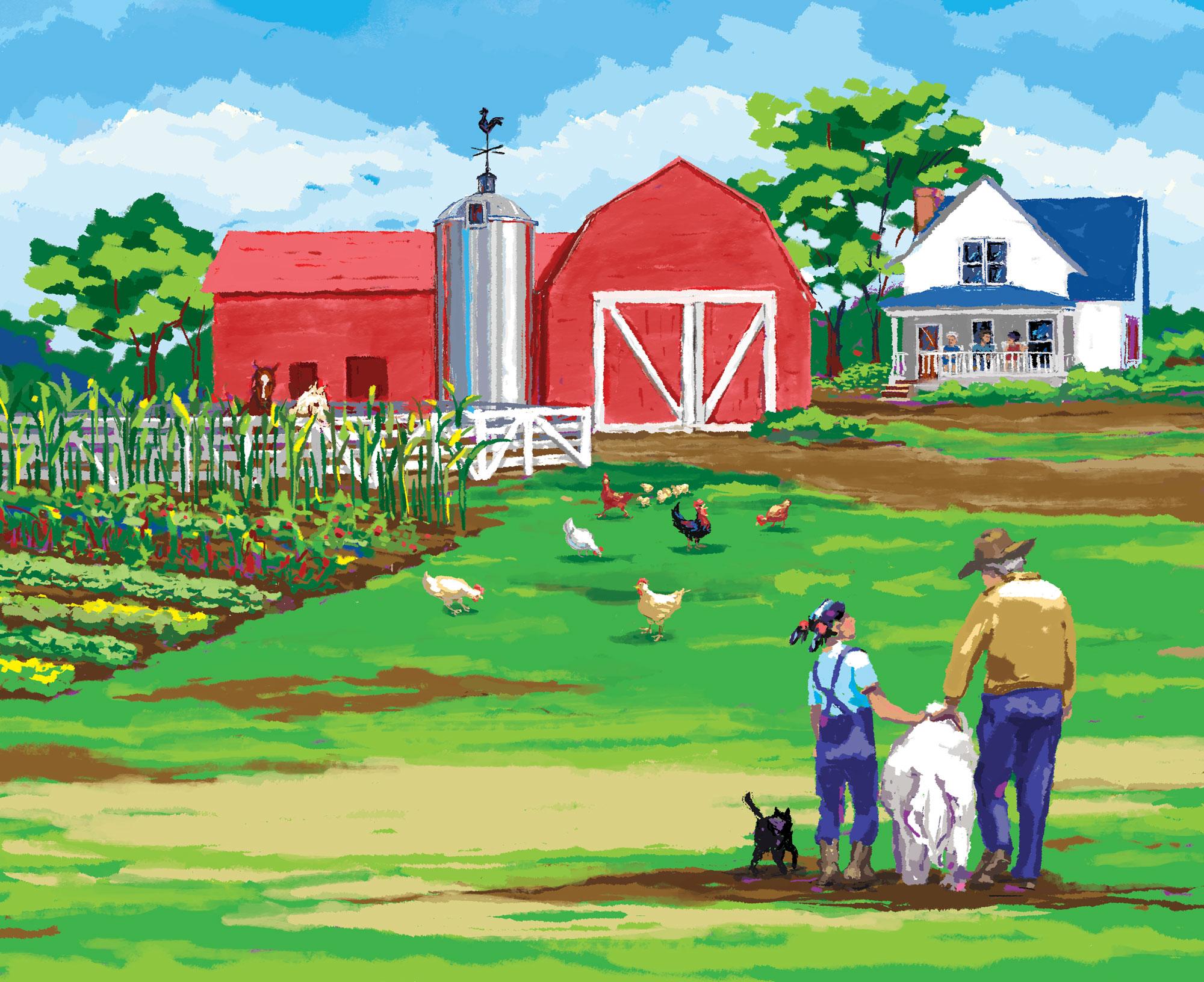 Kate and Grandpa at the Farm