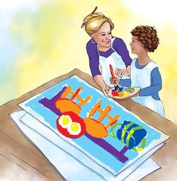 Sam Paints with Art Teacher