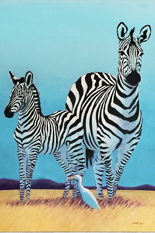 Zebra and Mom, Acrylic 30x40
