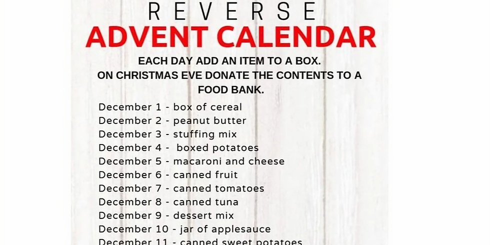 Reverse Advent Calendar Food Drive