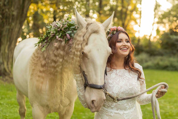 Bride with a horse