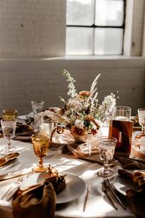 Amber-blush table setting
