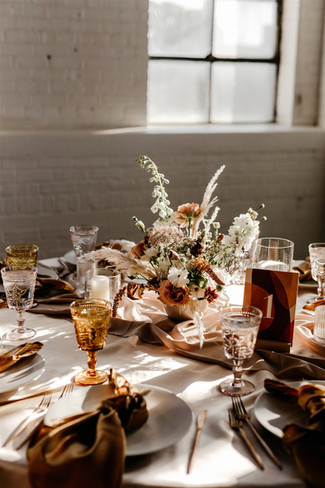 Amber-blush table setting