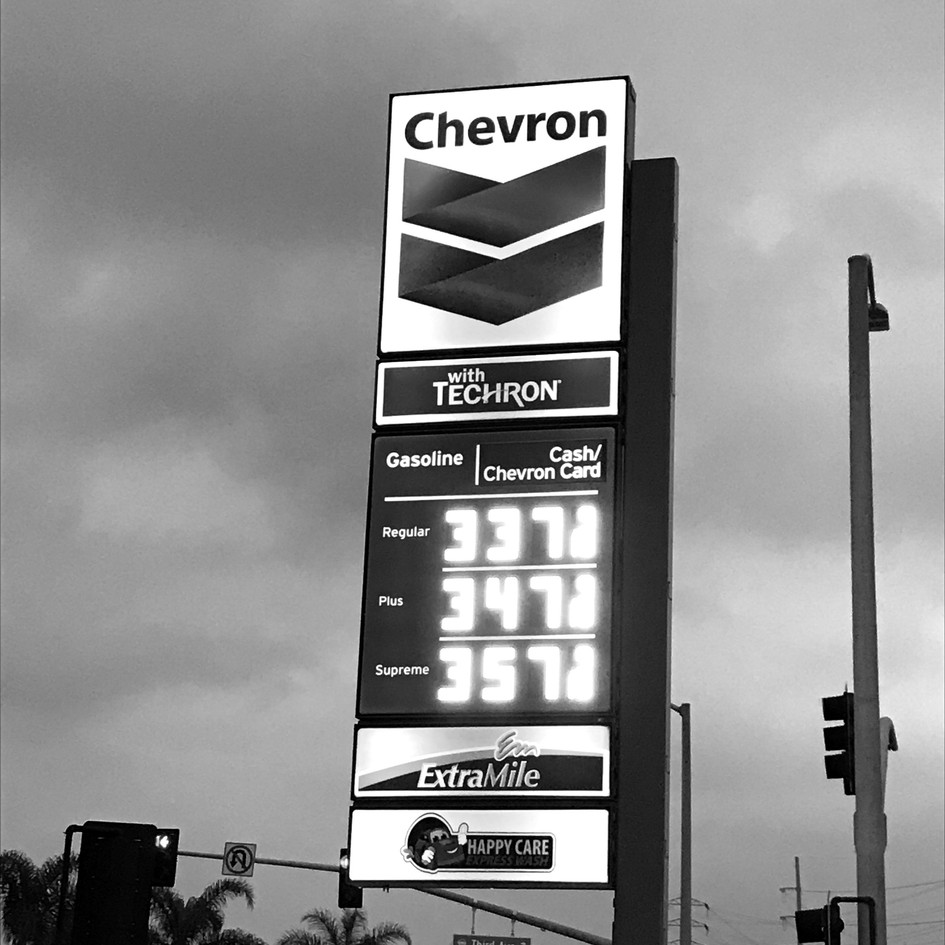 Chevron Station Lighted Price Sign