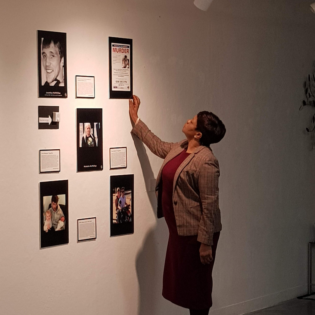 Beatrice Mushiya at the preview of The Wake-Up Room.  Way Out East Gallery - The University of East London, 12.03.2020.