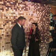 Lisa Burke interviewing cricketer