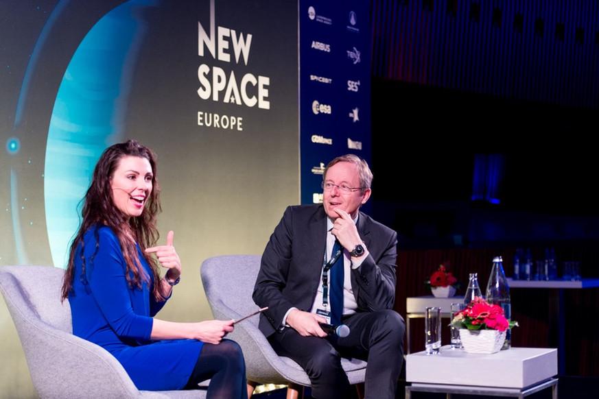 Lisa interviewing Jan Wörner, Director General of the European Space Agency