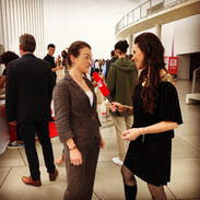 Lisa Burke interviewing at TEDx Luxembourg City in the Philharmonie