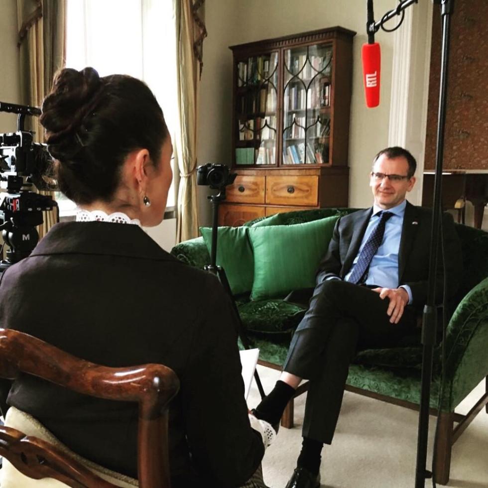 Lisa interviewing British Ambassador
