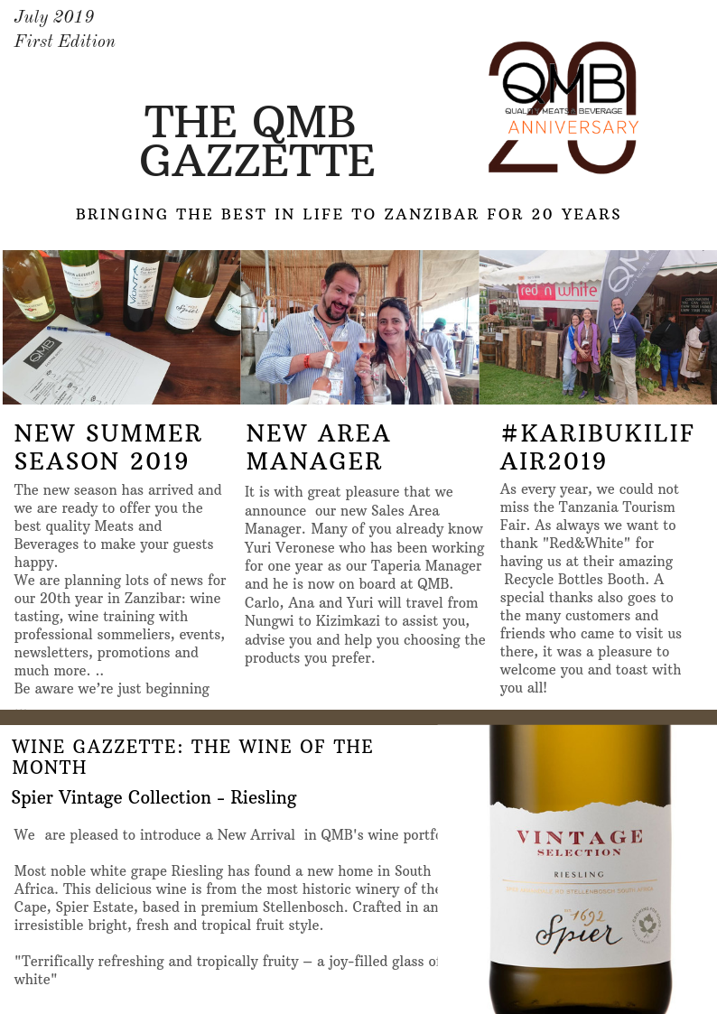 A NEW MONTHLY NEWSLETTER FOR ALL OUR CUSTOMERS, NEWS, TIPS, WINES, EVENTS, RECIPES AND MUCH MORE ...