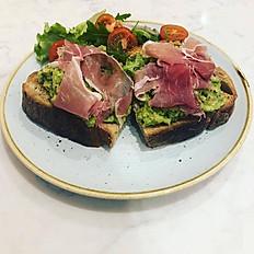 Parma Ham, Avocado on toasted sourdough