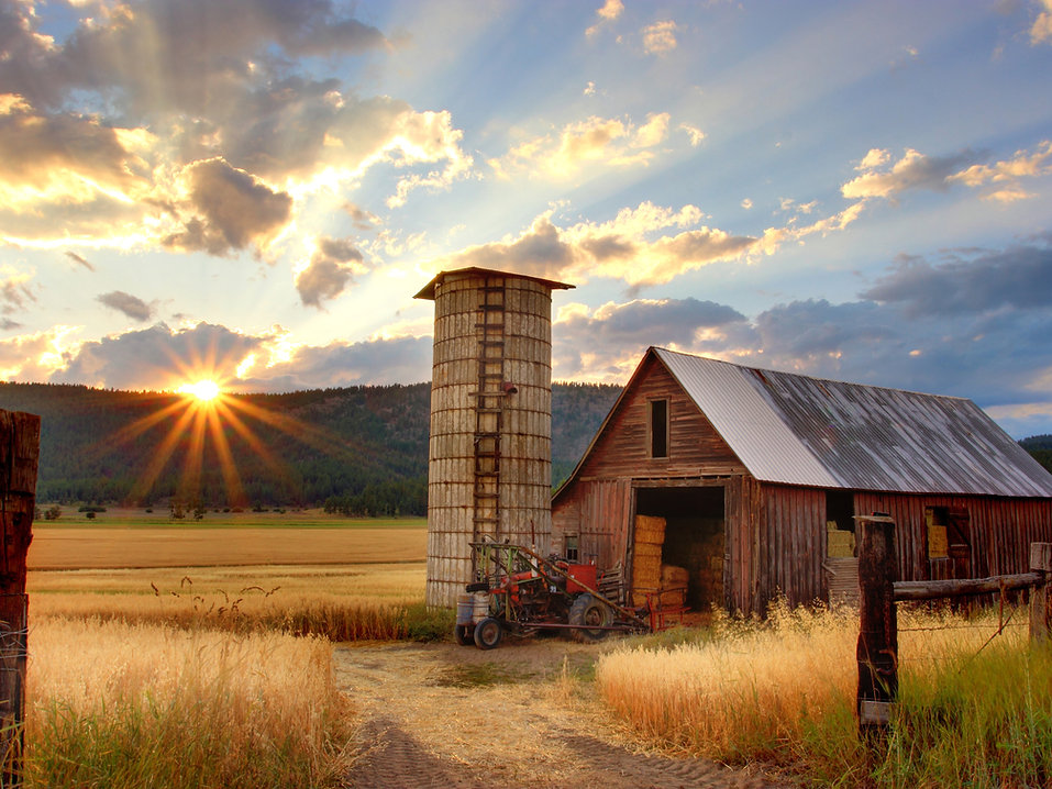 Montana barn sunrise