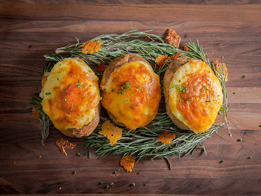 CHEDDAR CHIVE TWICE BAKED POTATOES