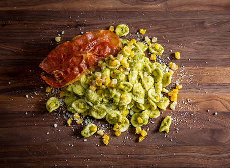 CORN PESTO PASTA WITH PROSCIUTTO CRISP | FARMER'S MARKET MEALS