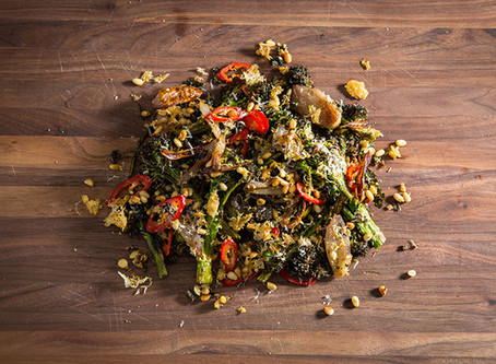 CRISPY ROASTED BROCCOLINI | PARMESAN, PINE NUTS AND CHILIES