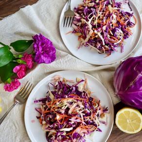 보라 양배추 샐러드 | 레몬 드레싱과 마요네즈 드레싱 | purple cabbage salad | easy+healthy