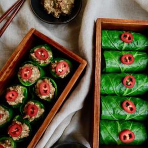 콜라드 그린 쌈밥 | 🥬Collard Green Ssambap | 염분을 줄인 씨앗 쌈장 얹어 한 입에 쏘옥~! 정말 맛있어요!