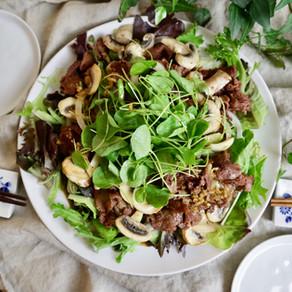 차돌박이 샐러드 | 언제 어디에 내놓아도 좋을 한 접시 요리 | 글루텐에 대하여 | Vegan meat Salad!