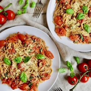 방울 토마토 파스타 | 식물성 파마산 치즈 | homemade cherry tomato pasta | vegan parmesan cheese