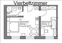 Skizze vom 4-Bettzimmer